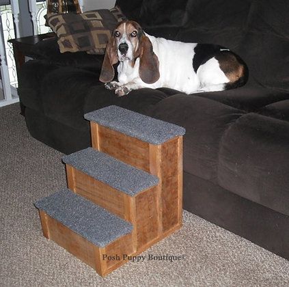 "18"" Custom Wooden 3-Step Pet Stairs"