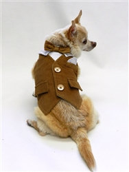 Chelsea Brown Tan Corduroy Dog Vest With Gold Buttons