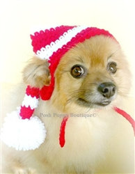 Crochet Red/White Striped Elf Dog Beanie