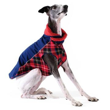 Portland Pullover Dog Coat Navy and Red Plaid
