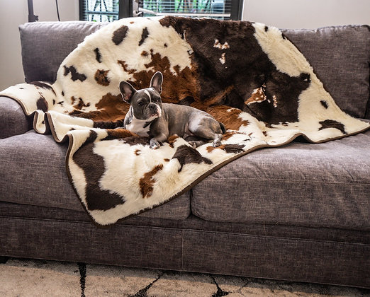 PupProtector Waterproof Throw Blanket Brown Faux Cowhide