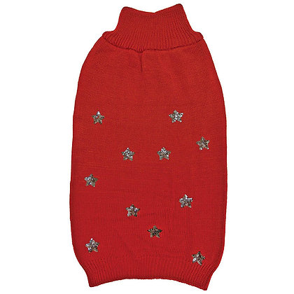 Sequin Star Dog Sweater Red