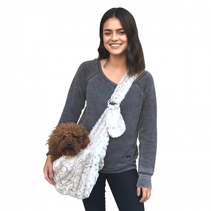Fur Baby Adjustable Frosted Snow Leopard Sling