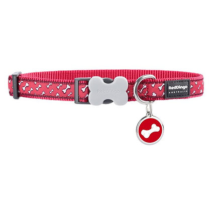 Flying Bones Red Dog Collar & Tag Set