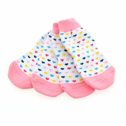 Non-Skid Dog Socks Pink Hearts