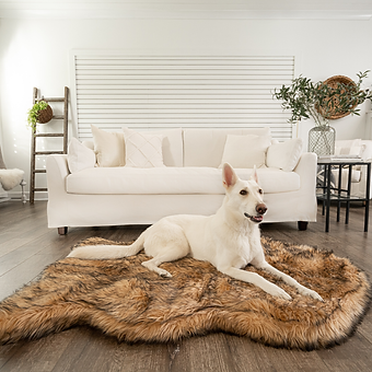 PupProtector Faux Fur Orthopedic Dog Bed Curved Sable Tan