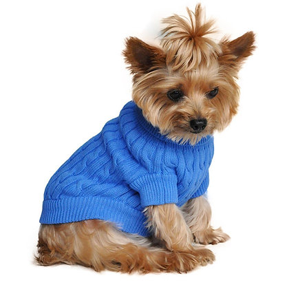 Cotton Cable Knit Dog Sweater Blue