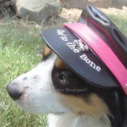 Biker Dog Hat Magenta and Black