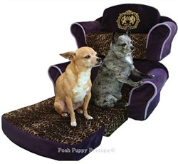 Royal Purple & Leopard Pull Out Dog Sofa Bed