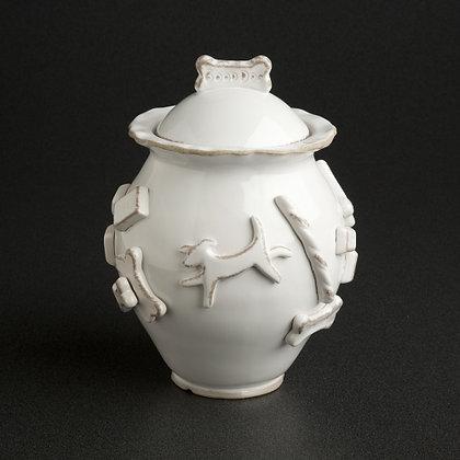 Dog Treat Jar French White