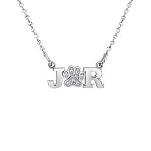 Diamond Paw Print Initial LOVE Necklace for Dog Lovers