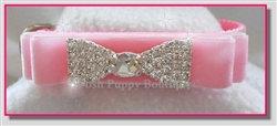 Velvet Angel Rhinestone Dog Collar Pink
