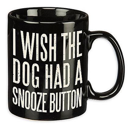 """Snooze Button"" Dog Coffee Mug Black"