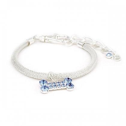 Round Mesh Bone Drop Dog Necklace Blue