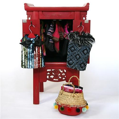 Red Asian Style Dog Armoire