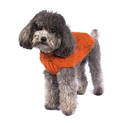 Chunky Cable Knit Dog Sweater Orange
