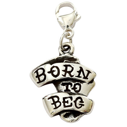 Born To Beg Sterling Silver Dog Collar Charm