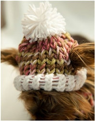 Knit Pink Camo Dog Hat
