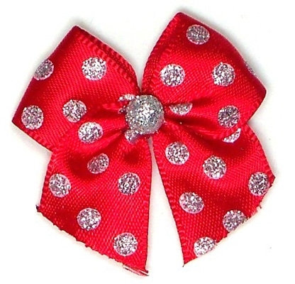 Silver Dots Dog Hair Bow Red
