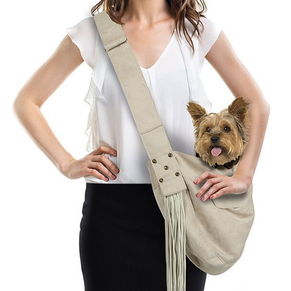 Luxe Suede Fringed Cuddle Sling Dog Carrier