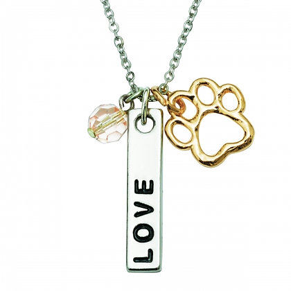 Love Bar with Pink Crystals Collar Charm Necklace