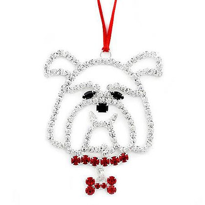 Crystal Bulldog Christmas Ornament