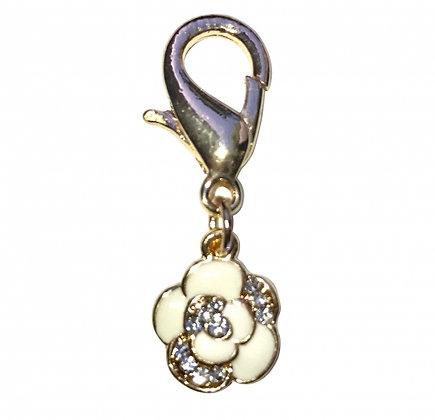 Ivory Flower Dog Collar Charm