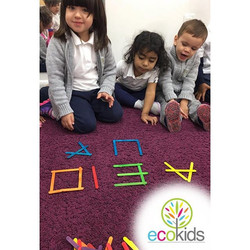 Letter fun ~ _ecokidspreschools #fun #letters #learning #education #bilingualpreschools #selfesteem