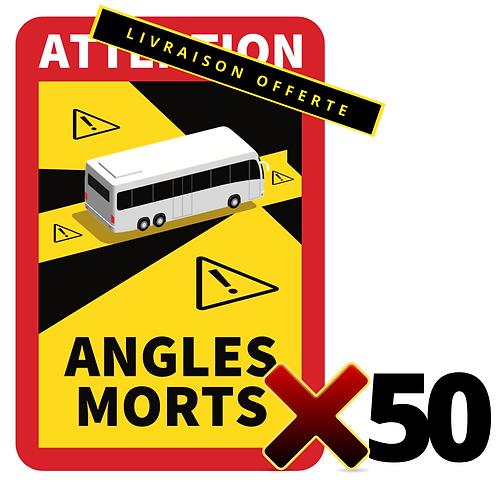 LOT DE 50 Autocollants angles morts CARS / BUS