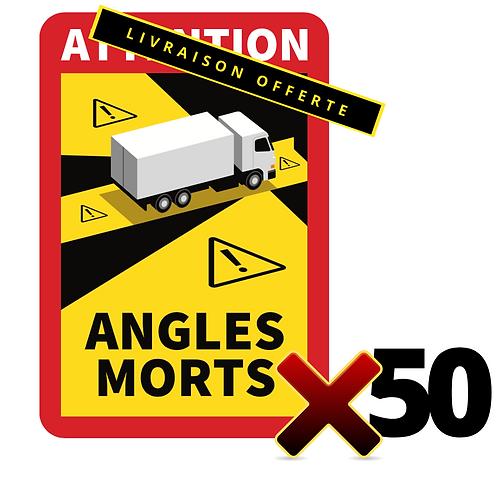 Lot de 50 Autocollants angles morts CAMIONS