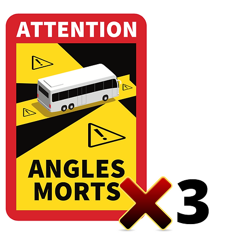 LOT DE 3 Autocollants angles morts CARS / BUS
