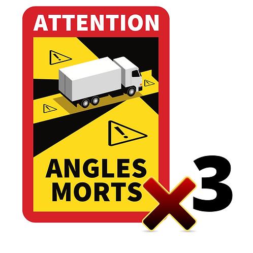 LOT DE 3 Autocollants angles morts CAMIONS