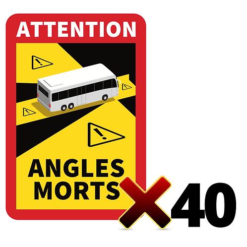 LOT DE 40 Autocollants angles morts CARS / BUS