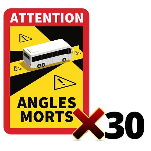 LOT DE 30 Autocollants angles morts CARS / BUS