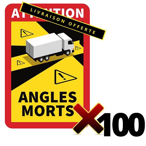 Lot de 100 Autocollants angles morts CAMIONS