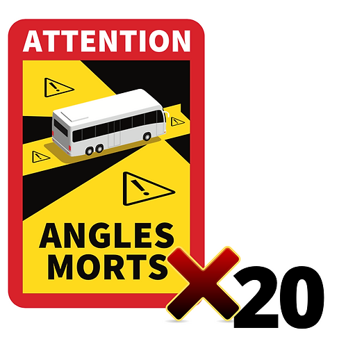 LOT DE 20 Autocollants angles morts CARS / BUS