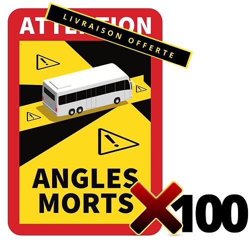 LOT DE 100 Autocollants angles morts CARS / BUS