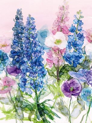 Bright blue delphiniums and Poppies on pale pink