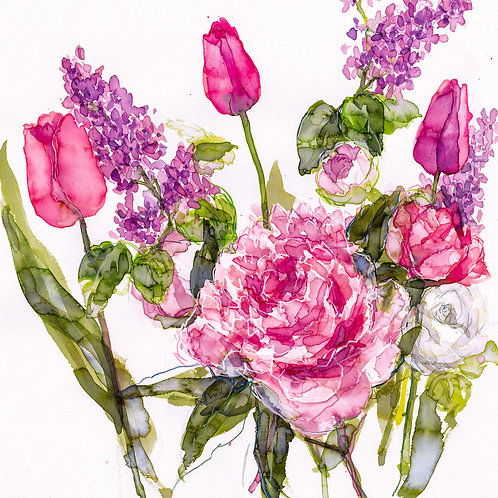 Pink Tulips, Peony, and Lilac Greeting Card