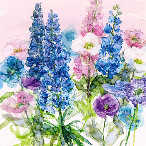 Bright blue Delphiniums and Poppies Greeting Card