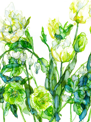 White and green Tulips, Bleeding Heart and Hellebores