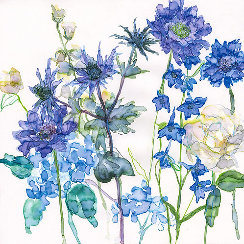 Sea Holly and Larkspur Greeting Card