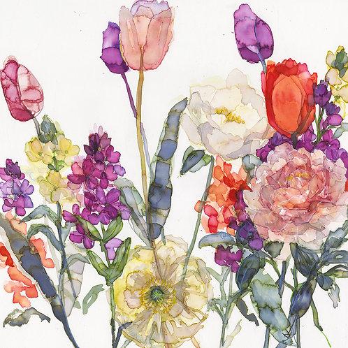 Tulips, Wallflowers and Icelandic Poppy Greeting Card