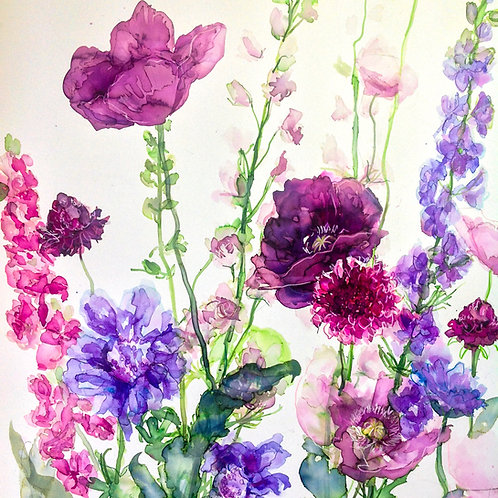 Larkspur, Poppies and Scabious Greeting Card