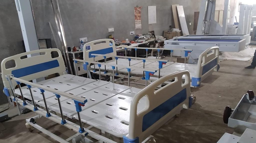 Blue and white Motorised medical beds for patients