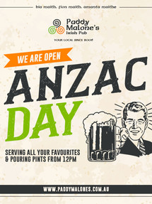ANZAC DAY OPEN AT 12pm
