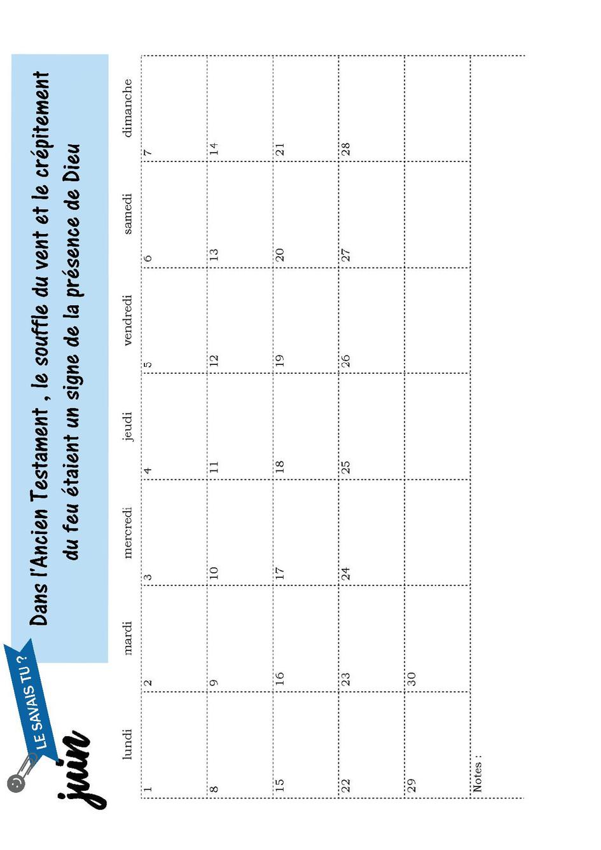 page calendrier de juin
