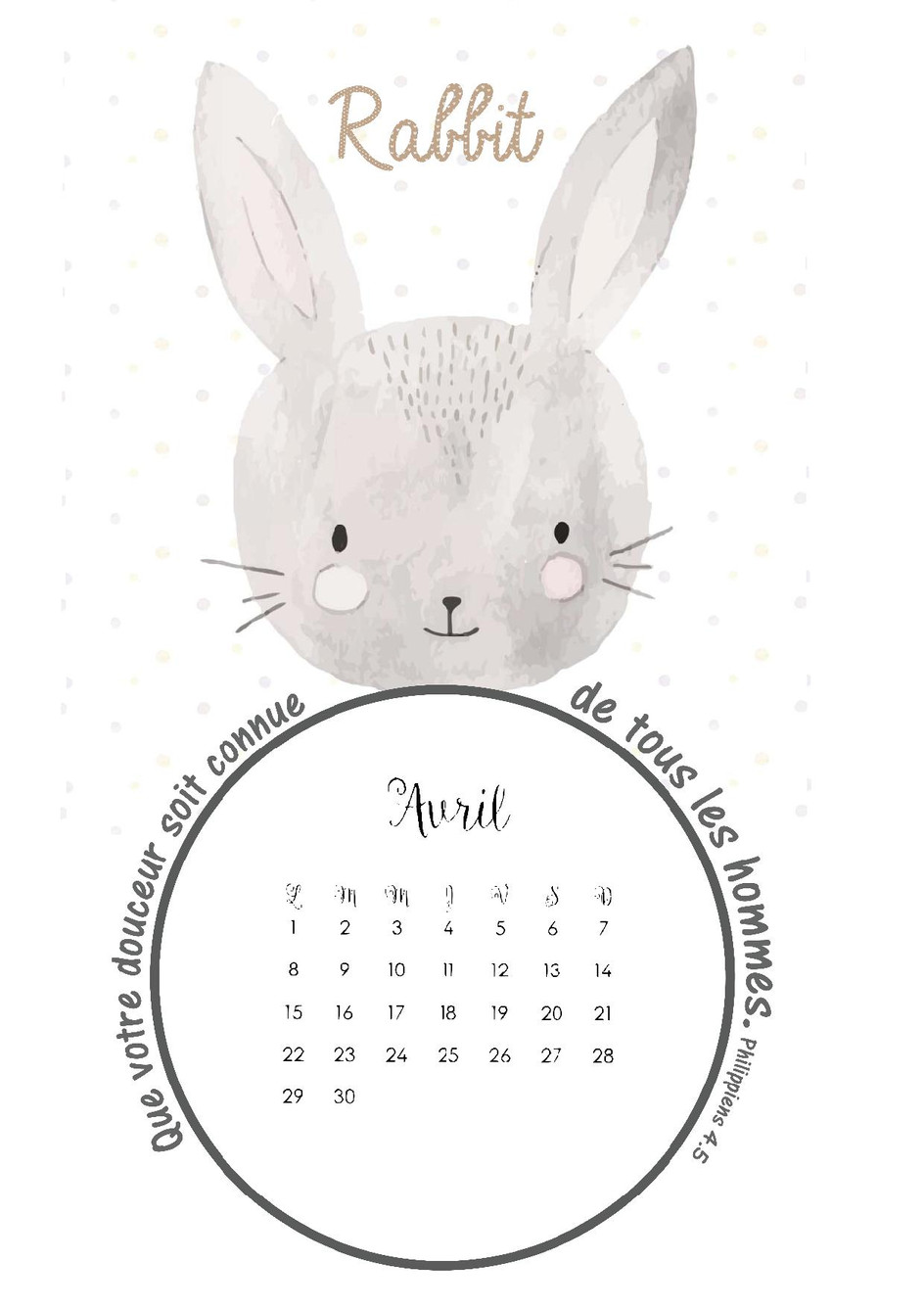 Page calendrier pour avril