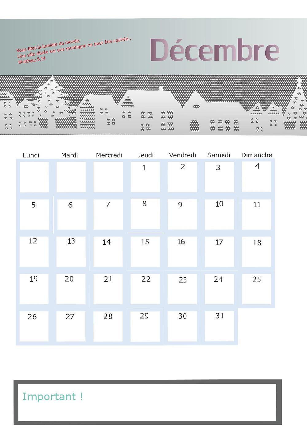 notre dernière page calendrier de l'année !