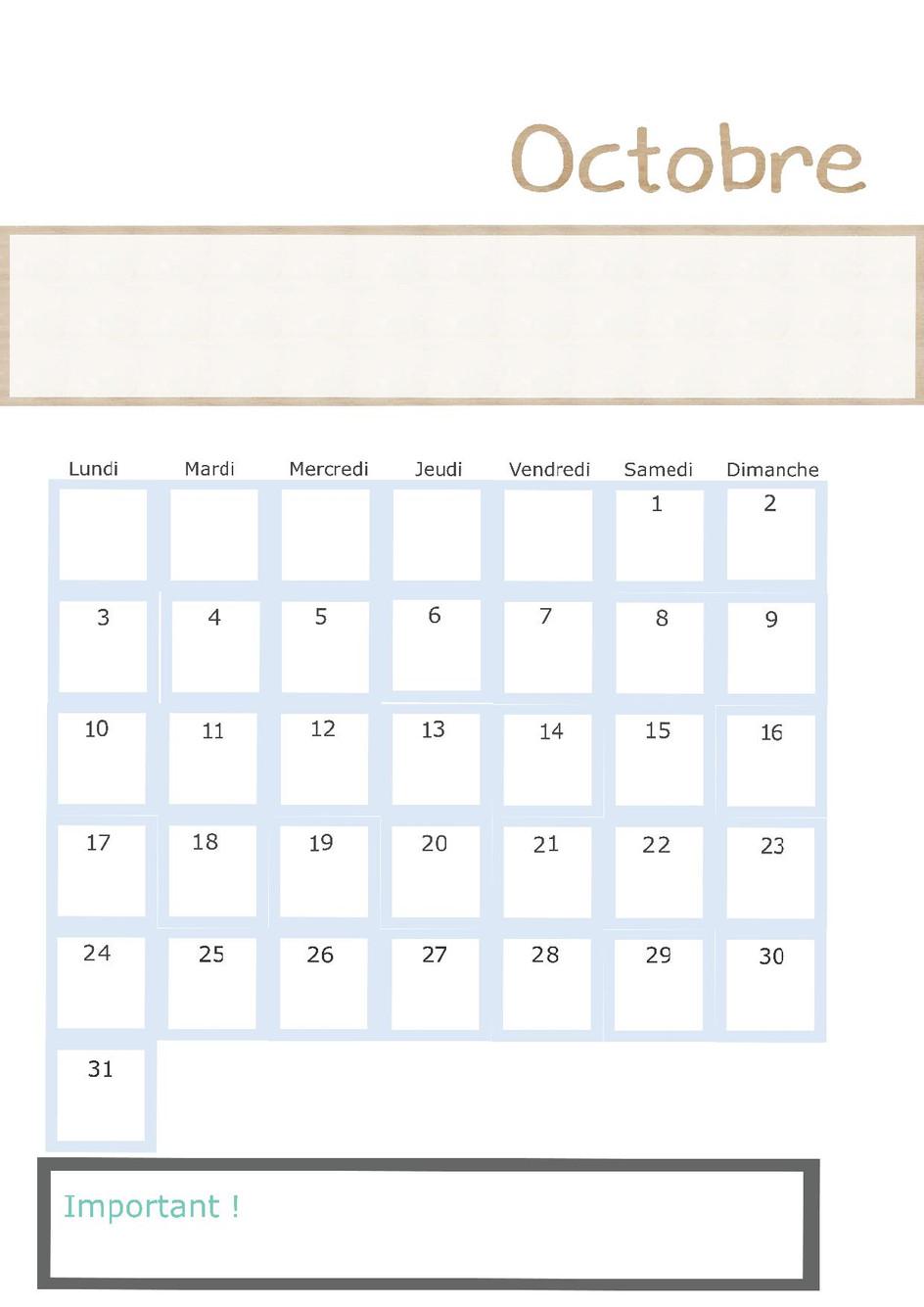 Page calendrier du mois d'octobre